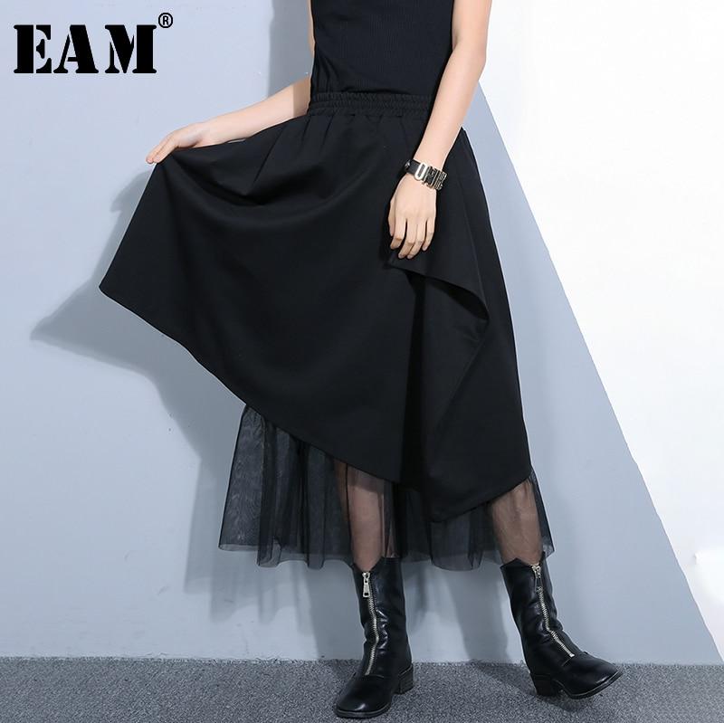 [EAM] 2020 New Spring Summer High Elastic Waist Black Hem Irregular Mesh Stitch Loose Half-body Skirt Women Fashion Tide JO482