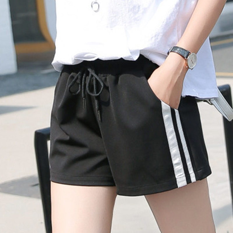 Summer Striped Short Women Plus Size Elastic Waist Thin Loose Hot Shorts Korean Female Streetwear Wild Breathable Sport Shorts