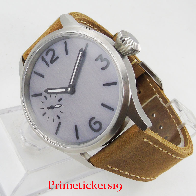 Simple PARNIS 43mm Sterile Nologo Dial 6497 Hand Winding Men Wristwatch Brushed Case