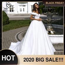 Satén sencillo Vestido de novia 2020 Swanskirt sin hombro Vestido de bola princesa Vestido de novia personalizado tamaño Vestido de novia TZ20
