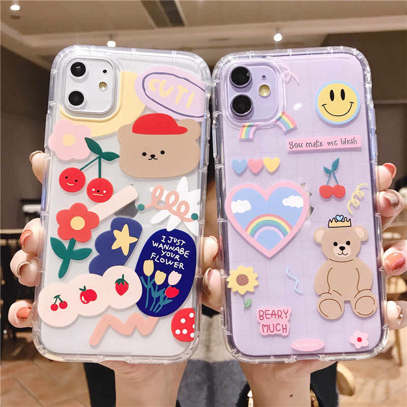 Custodia per telefono orso dei cartoni animati per Apple iphone 11 Pro X XS Max XR Cover posteriore in TPU morbido per iphone 7 8 plus 7plus custodia trasparente bella e carina