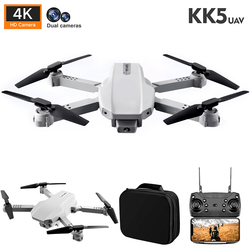 2021 New KK5 Drone 4K HD Dual Camera Foldable Drone With Wifi FPV 1080p Real-Time Transmission Foldable Quadcopter RC Helicopter