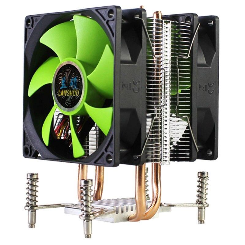 LANSHUO CPU Radiator CPU Cooler 2 Heat Pipes Ultra Quiet Cooler Fan for LGA 2011 X79 X99 X299 (3Pin Dual Fan)