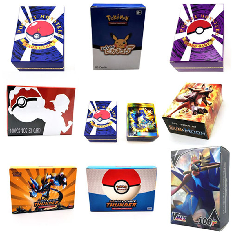 New Series 100Pcs Pokemon Cards Tag Team GX EX MEGA Cards Pokemones English Pikachu Cards Toys For Kids Gift No Repeat