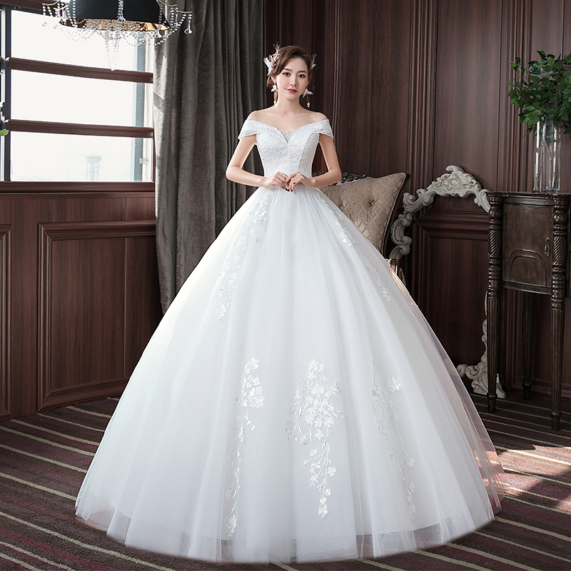 EZKUNTZA Simple 2020 New Wedding Dress Elegant Boat Neck Off The Shoulder Lace Embroidery Lace Up Plus Size Slim Bride Gown L