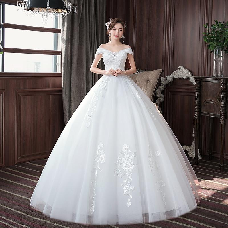 EZKUNTZA Simple 2020 New Wedding Dress Elegant Boat Neck Off The Shoulder Lace Embroidery Lace Up Plus Size Slim Bride Gown L
