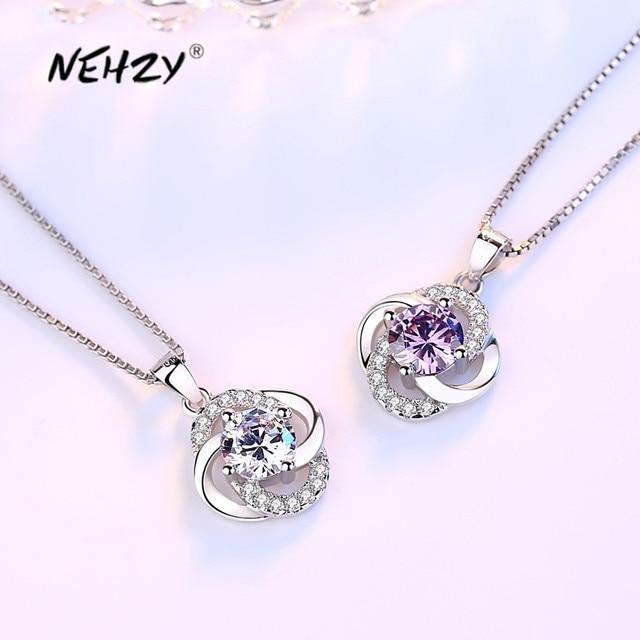 NEHZY 925 sterling silver new women fashion jewelry purple crystal zircon four-leaf clover flower pendant necklace length 45CM 1