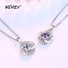 NEHZY-collar con colgante de flor de trébol de cuatro hojas para mujer, de Plata de Ley 925, joyería de moda para mujer, cristal morado de circón, longitud 45CM