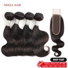 Cabelo mogul 50 g/pc 4 pacotes com 2x6 kim k fechamento do laço marrom escuro onda do corpo brasileiro remy cabelo humano curto bob estilo