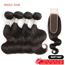 HAIR Closure Dark-Brown Body-Wave Remy 4-Bundles Brazilian MOGUL with 2x6 Kim Lace Short