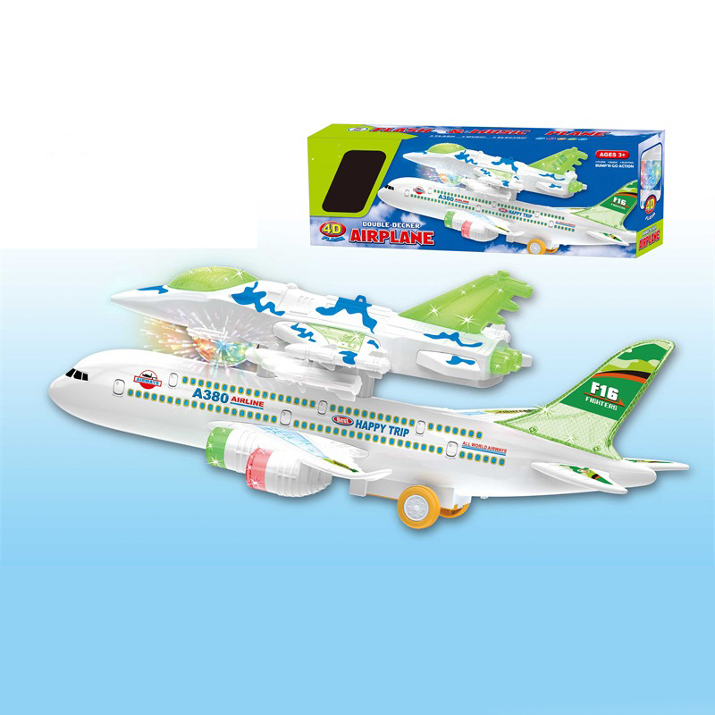 Shuang Ceng Dai Music 4D Light Electric Universal Airliner Large Size Air Bus Airplane CHILDREN'S Toy