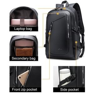 Image 2 - Fashion PU Leather Backpack Shcool Women Men Male 15.6 Laptop Backpacks Waterproof Notebook USB Charging Bagpack Bag Back Pack
