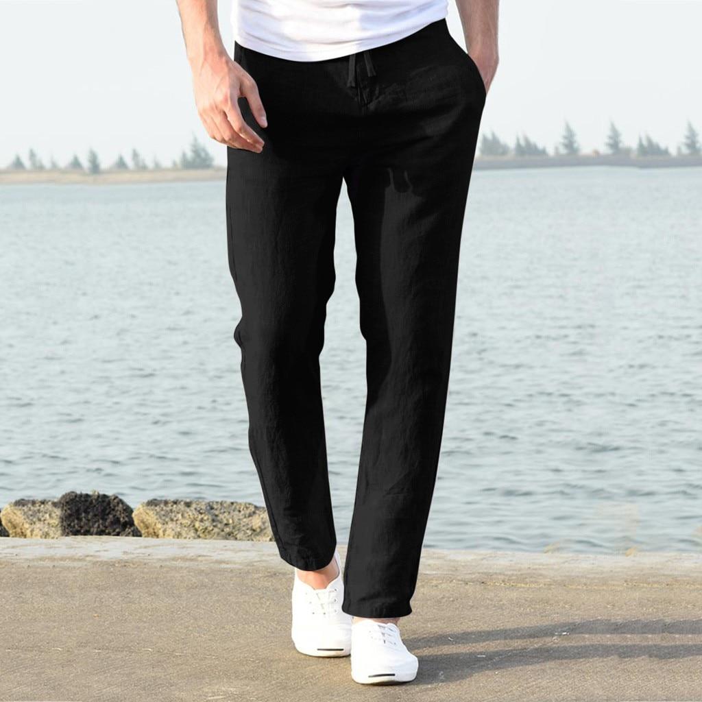 H18f09fb3c1de431bb6fe72fa2c301317V Feitong Fashion Cotton Linen Pants Men Casual Work Solid White Elastic Waist Streetwear Long Pants Trousers