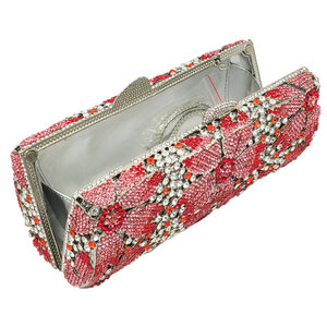 Image 3 - Boutique De FGG Hollow Out Women Crystal Flower Clutch Evening Handbags and Purses Metal Hardcase Floral Wedding Minaudiere Bags