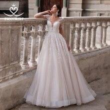 Vintage Vคอชุดแต่งงาน2020 SwanskirtแขนยาวAppliques Backless A Line Illusionเจ้าหญิงเจ้าสาวVestido De Noiva K150