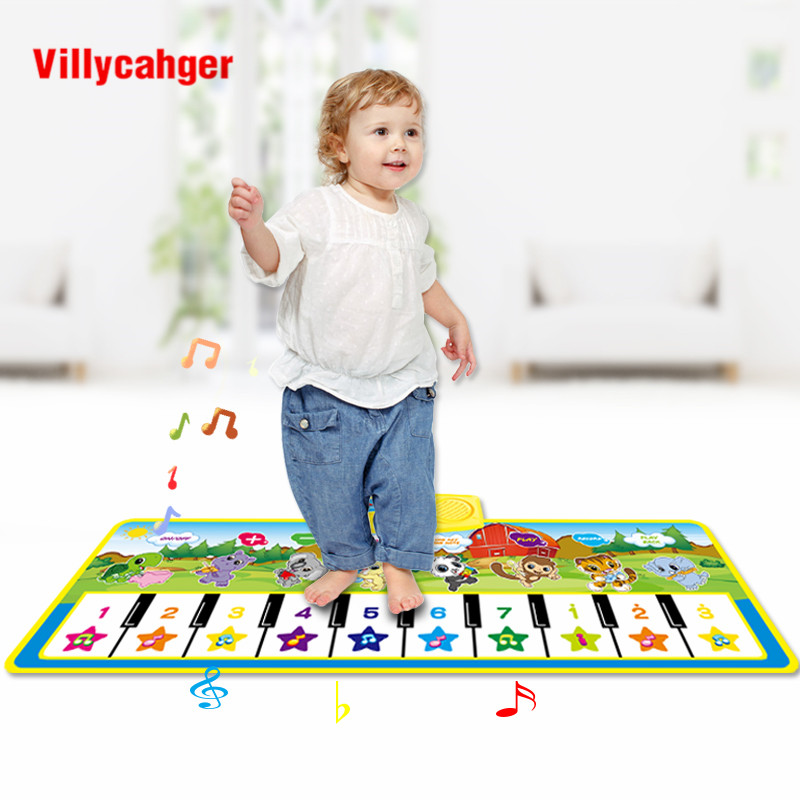 100x36cm Animals Musical Mat Carpet With 10 Keys Record Function Animal Sounds Play Touch Piano Educational Toys For Kids Gift
