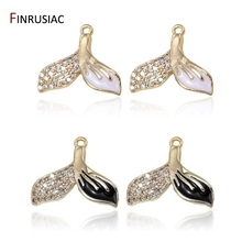 15*12.5mm Gold Plated Whale Tail Charms Inlaid Zircon Rhinestone Enamel Mermaid Pendant For Necklace Earring Charm