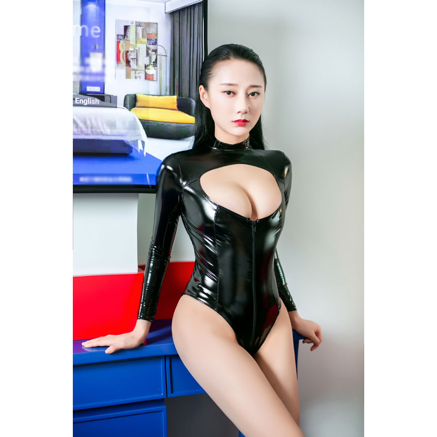 <font><b>Sexy</b></font> <font><b>Latex</b></font> Catsuit Open Crotch Womens Faux Leather Bodysuit <font><b>Lingerie</b></font> <font><b>Latex</b></font> Bodysuit Shiny Wet Look PVC Jumpsuit Plus Size <font><b>Erotic</b></font> image