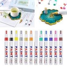 12 cores cola epoxy resina desenho caneta ouro leafing ponto caneta marcador tinta acrílica destaques metálico permanente marcadores kit dropship