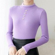 Suéter de Mujer de moda coreana suéteres de punto suéter de cuello alto de Mujer suéteres de talla grande Sueter Mujer Invierno