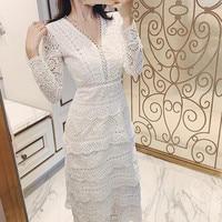 Las mujeres con cuello en V profundo Sexy capas volantes vestido de fiesta 2021 retrato de verano de encaje manga larga Maxi vestido de pastel S-XXL