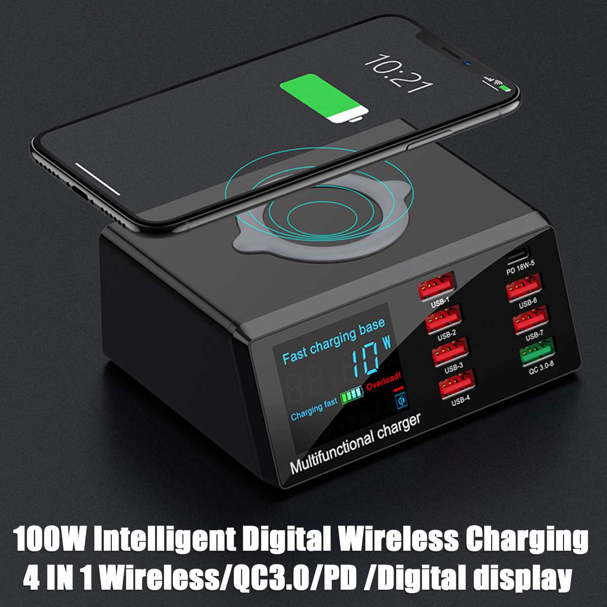 <font><b>100W</b></font> PD QC 3.0 Quick <font><b>Charger</b></font> 8Ports Smart USB Digital Display Charging Dock Station Wireless <font><b>Fast</b></font> <font><b>Charger</b></font> for iPhone for Samsung image