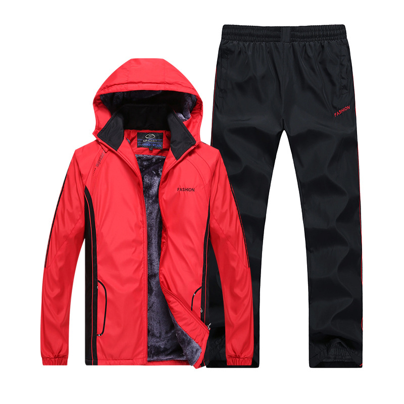 Winter Brushed And Thick Warm Cardigan Windproof Running Casual Middle-aged Men's Sports Clothing Hooded Set F855