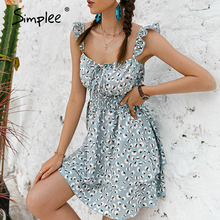 Ruffle Dress Simplee Casual Women Summer Printed Suspender Square Collar Holiday-Style