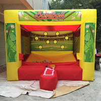 Free home delivery! Outdoor fun inflatable baseball shooting cage game, inflatable batting cage, carnival inflatable baseball
