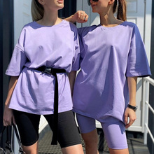 Spandex Cotton Casual Women Two Pieces Suit Home Loose T Shirt Sports Tracksuits Solid Outfits Leisure Bicycle Summer Costume