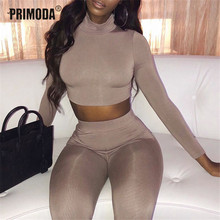 Autumn Winter Two 2 Piece Sets Long Sleeve Crop Tops Skinny