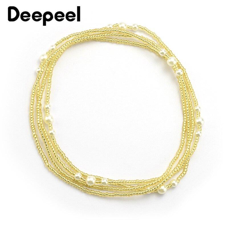 4pcs Deepeel 60-80cm Women Pearl Beads Waist Chain Cummerbunds Hand-beaded Body Chain Elastic Girdle Female Appare Accessories