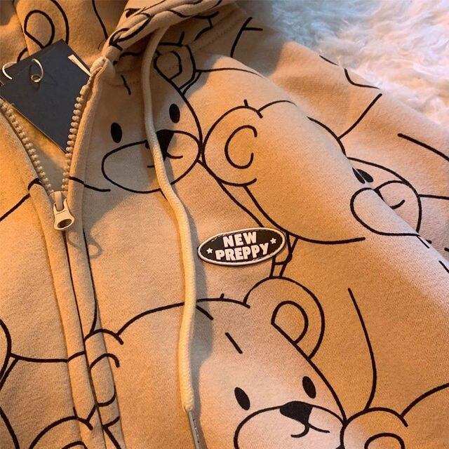 12345-Lillte bear Cartoon Vintage Spring and summer Sweatshirt Women Korean Zip Up Hoodie Women Fashion Clothe Hoodies 4