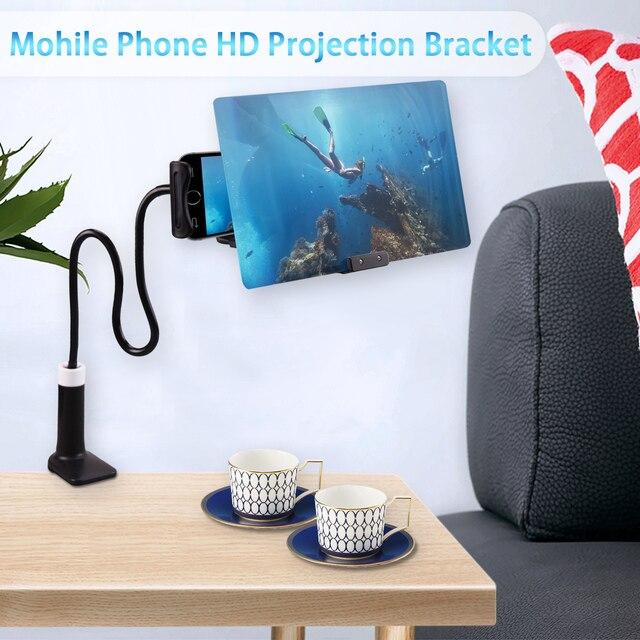 เบ็ดเตล็ดเบรคกิ้ง 8/12 นิ้วแว่นขยาย 3D HD โทรศัพท์มือถือภาพยนตร์วิดีโอหน้าจอเครื่องขยายเสียงแว่นขยาย Expander Stand ผู้ถือ