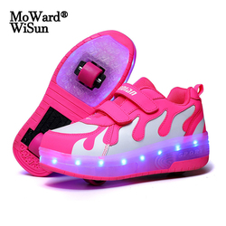 Size 28-40 Kids Roller Sneakers with lights USB Charged LED Shoes Double Wheels Children Boys Girls Luminous Roller Skate Shoes