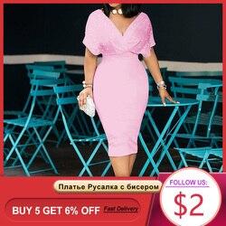 3xl Бисероплетение Леди Русалка платье 2020 африканские женские розовые миди платья халат Femme Vestiods элегантное офисное женское коктейльное пла...