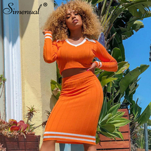 Simenual Ribbed Sexy Patchwork Women Matching Set Long Sleeve 2019 Autumn 2 Piece Outfits Fashion Bodycon Crop Top And Skirt