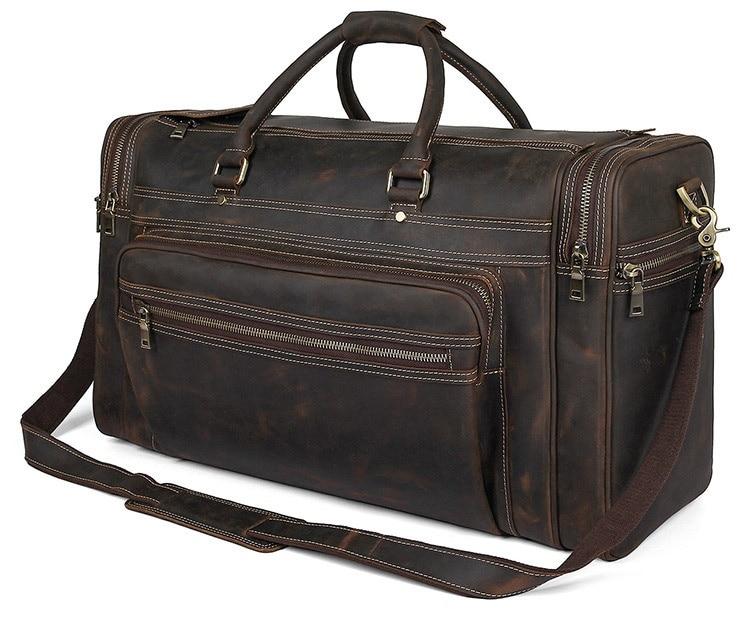 US $171.5 30% OFF|Exlarge Mens Crazy Horse leather Weekend Bag 22
