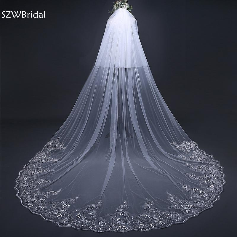 Wedding-Veils Ivory Lace-Edge White Long 2-Layers Veu New-Arrival
