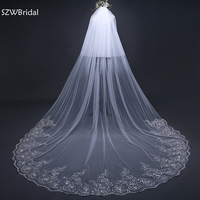 New Arrival White Ivory 2 layers Wedding Veils Long Lace Edge Bridal Veil 2020 Wedding Accessories Bride Veu Wedding Veil