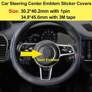 Автомобильные аксессуары, металлические золотые автомобильные эмблемы на рулевое колесо, наклейки на 1pin Curve/плоский дизайн для cayenne 911 718, ав...