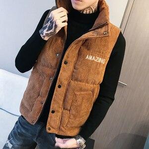 Image 2 - Mens Thicken Waistcoat Corduroy Sleeveless Jacket Men Turtleneck Cotton Padded Warm Coats Letter Logo Slim Fit Winter Vest Men