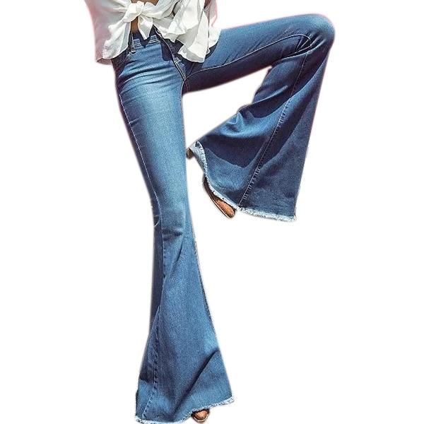 Women Fashion Wide Leg Flared Jeans Denim Comfortable Loose Jeans Zipper Pocket Trousers,Navy Blue M