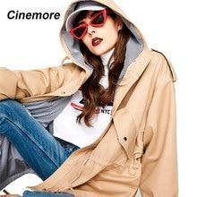 Cinemore 2021 Nieuwe Vrouwen Jas Top Lente Herfst Casual Korte Oversized Fashion Solid Hooded Windscherm Losse Bovenkleding 7012