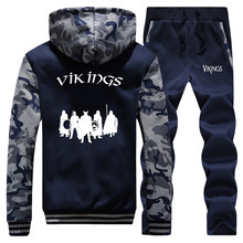TV Show Vikings Camo Male Set The Viking Men's Thick Sets Winter Fashion Streetwear Hip Hop Fleece Tracksuit Winter Sweatsuit(China)