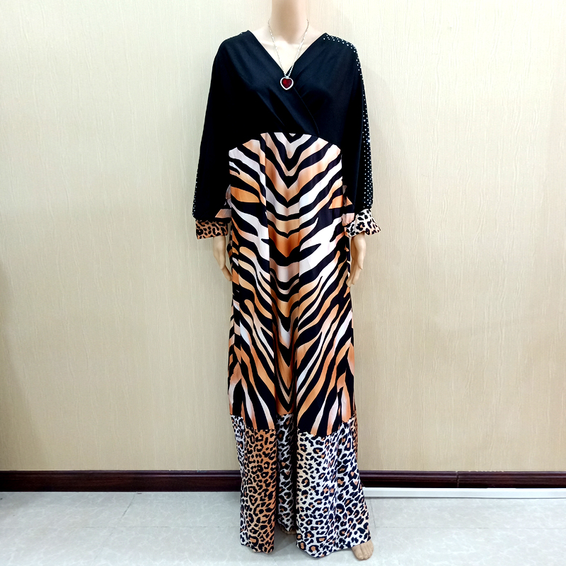 2019 Latest Design African Dashiki Dresses Diamond Tiger Pattern & Leopard Pattern Print Black Dresses For Women