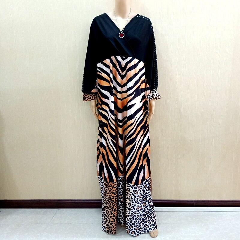 2019 Latest Design African Dashiki Dresses Diamond Tiger Pattern & Leopard Pattern Print Black Dresses For Women