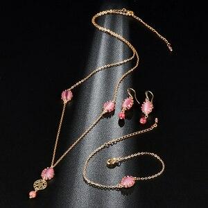 Kinel Luxury Bridal Jewelry Set Fashion Gold Pink Opal Pendant Necklace And Earrings Bracelet For Women Boho Jewelry Wholesale(China)