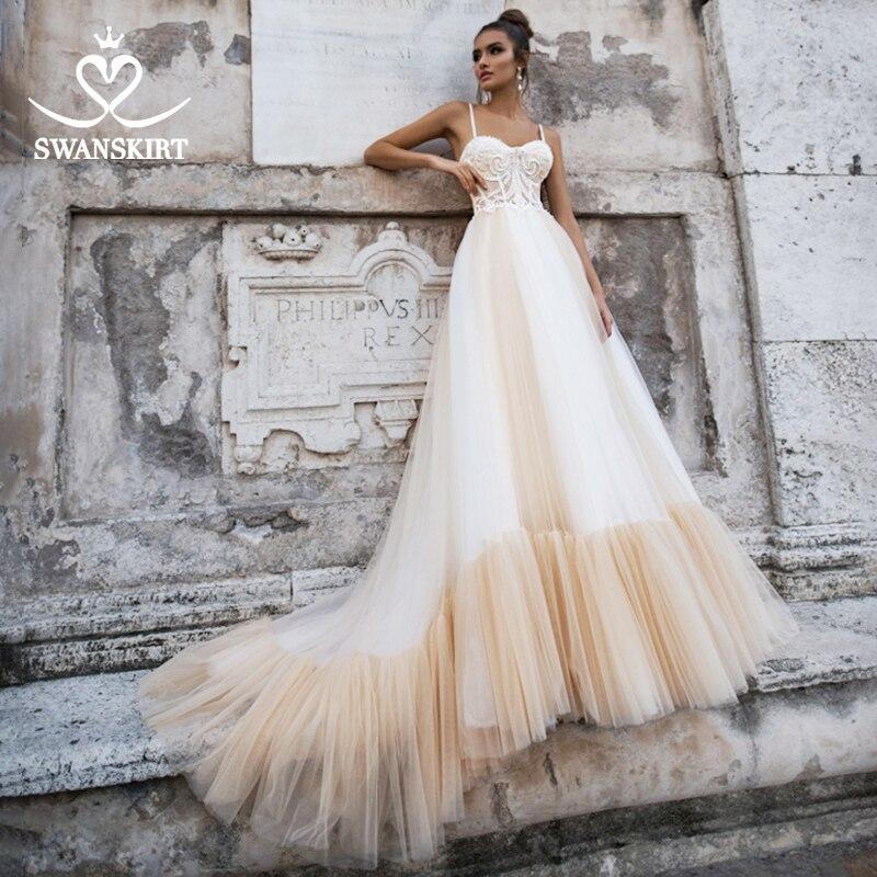 Romantic Beaded Wedding Dress 2019 Swanskirt Chic Open Back Ruffles A-Line Customized Bride Gown Princess Robe De Mariee NY02