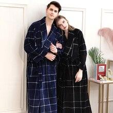 Frauen Winter Plaid Plus Größe Lange Flanell Bademantel 40 130KG Warmes Bad Robe Gemütliche Kimono Roben Dressing Kleid männer Nacht Nachtwäsche